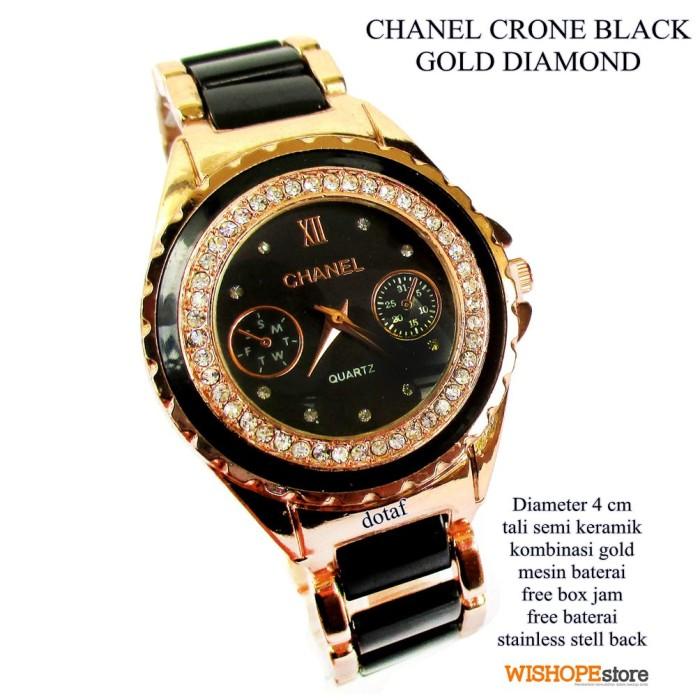 harga Jam tangan chanel crone gold diamond black semi keramik Tokopedia.com