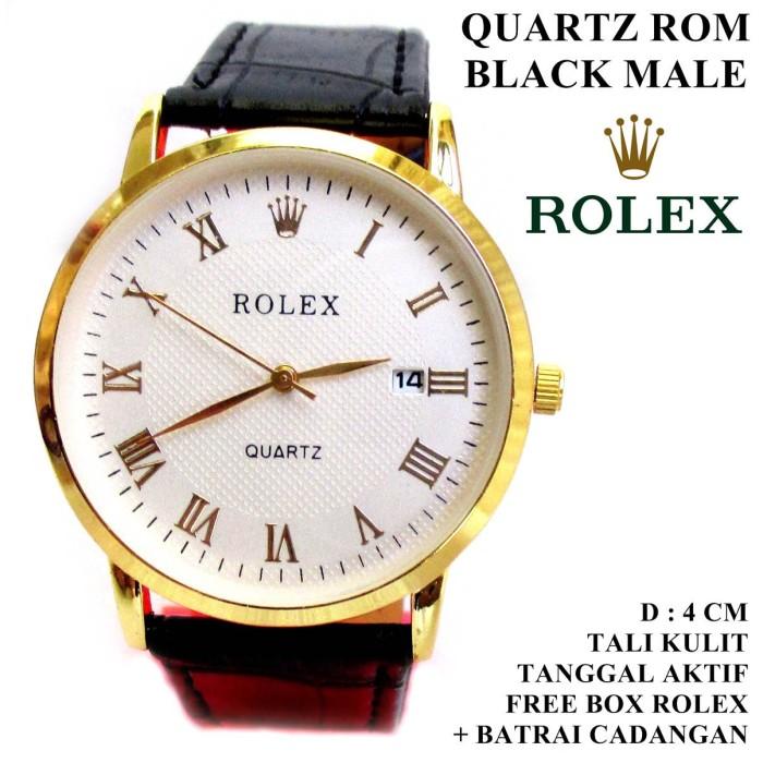 harga Jam tangan kulit rolex diamond rom black male (tanggal aktif) Tokopedia.com