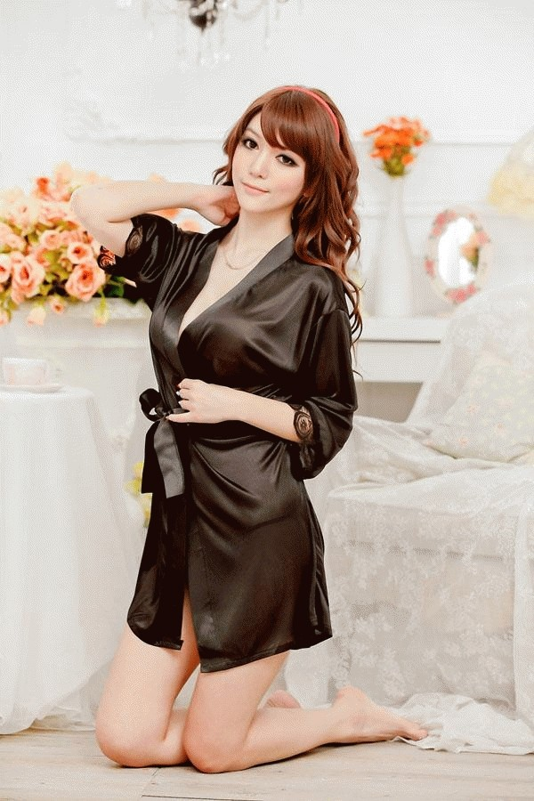 Hasil gambar untuk Black Sexy Temptation Nightdress Kimono