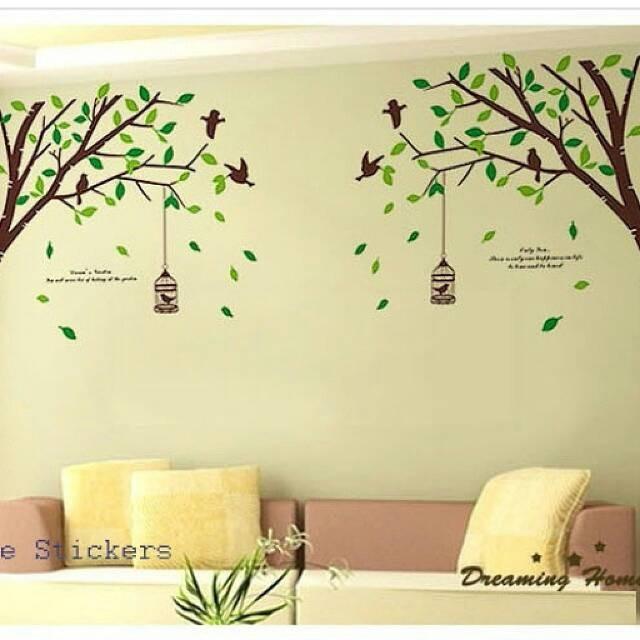 jual wall sticker pohon kembar - java wallsticker | tokopedia