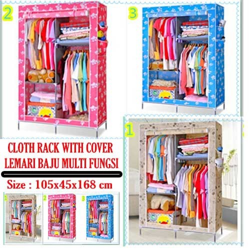harga Cloth rack with dusk cover rak baju multi fungsi lemari kain resleting Tokopedia.com