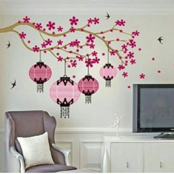 jual wall sticker lampion sakura - kota bandung - flower collection