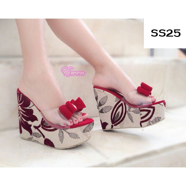 Sepatu Sandal Wedges Wanita Cewek Pesta High Heel Hak Tinggi SS25