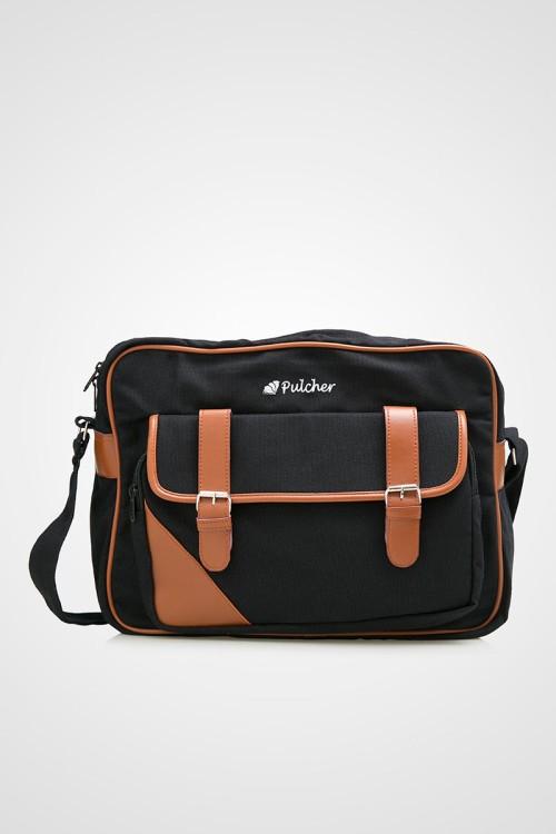 Tas Selempang Sekolah Laptop Canvas - Pulcher Aquila Black (Sling Bag)
