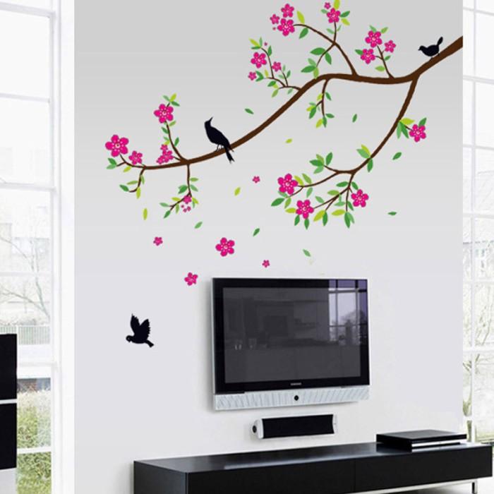 jual wallsticker stiker dinding 60x90 jumbo pohon burung hijau