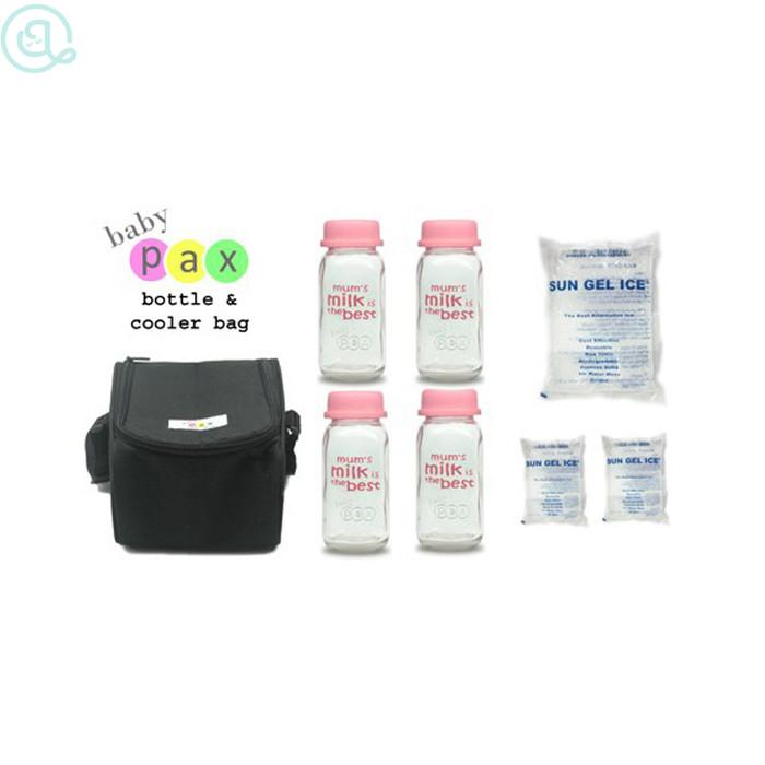 Baby pax cooler bag hitam/botol asi kaca/tas penyimpanan asi baby pax