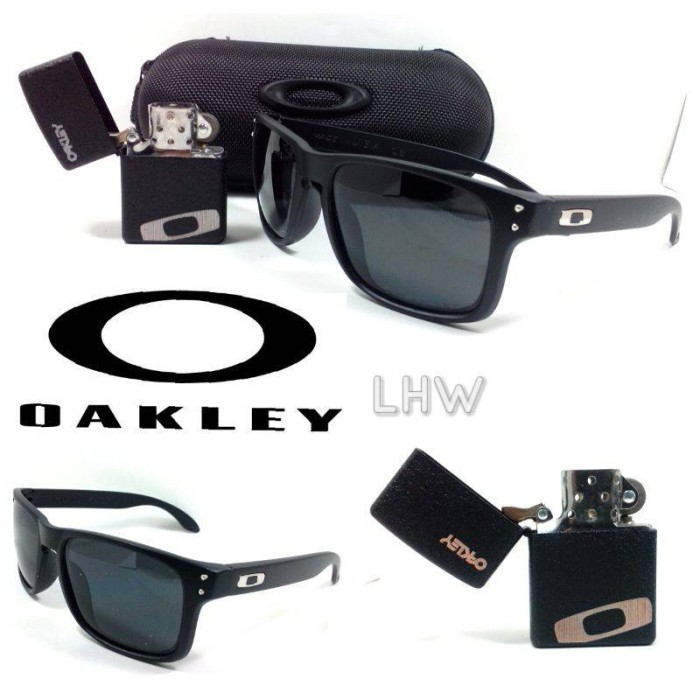 Oakley Holbrook Hitam Logo Silver Bonus Zippo Oakley