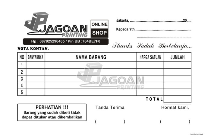 Jual Nota Penjualan Desain Kreasi Sendiri Kab Bandung Jagoanprinting Tokopedia
