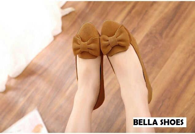 harga Flat shoes coklat brown pita ribbon suede beludru sepatu wanita bella Tokopedia.com