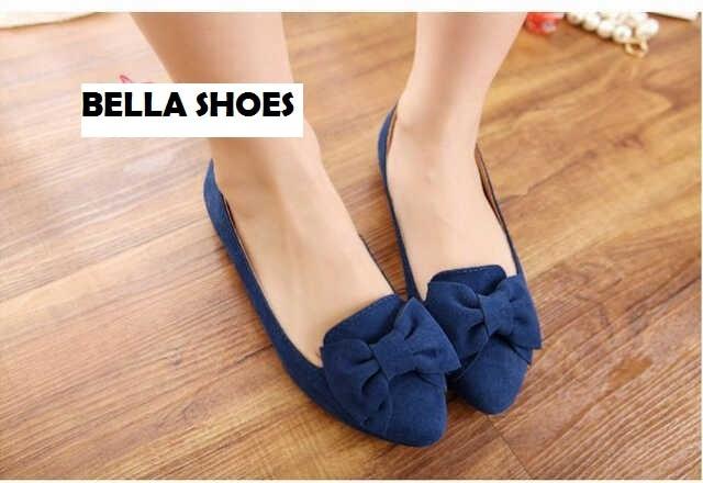 harga Flat shoes biru blue pita ribbon suede beludru sepatu wanita bella Tokopedia.com