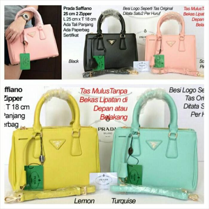 5fe890c70e55 Jual Tas Wanita Kerja Branded Prada Saffiano 25 2 Zipper Semi ...