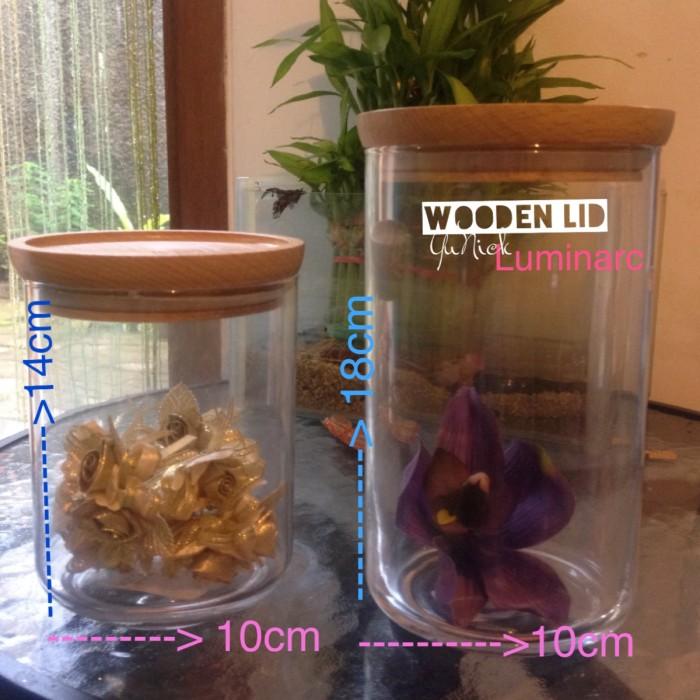 [ hot ] luminarc  wooden jar s toples tutup kayu natural clear bottle