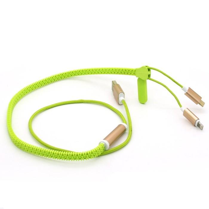 harga Cable zipper 2in1 micro & 8 pin lighting usb to usb data cable Tokopedia.com