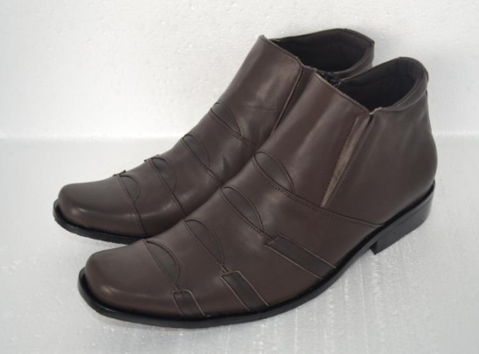 Jual Sepatu Kerja Pria BOOT Resleting Kulit Asli Brown Berkualitas ... 09eee4ff95