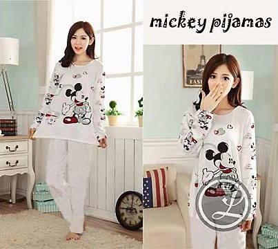 Baju Tidur Mickey Mouse White / Piyama