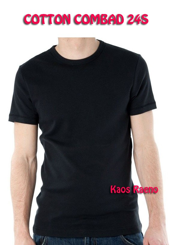 ML tshirt kaos polos model O Neck Unisex lengan pendek Hitam murah
