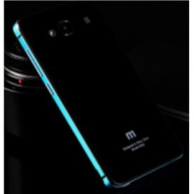 Aluminium Tempered Glass Hard Case for Xiaomi Redmi 2 - Black/Blue