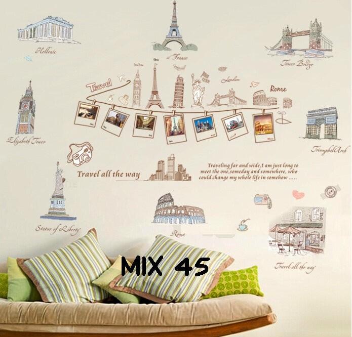 jual grosir wall sticker murah mix motif paris - pusat wall sticker