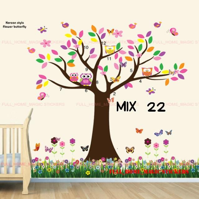 jual wall sticker murah mix motif pohon & rumput - kota malang