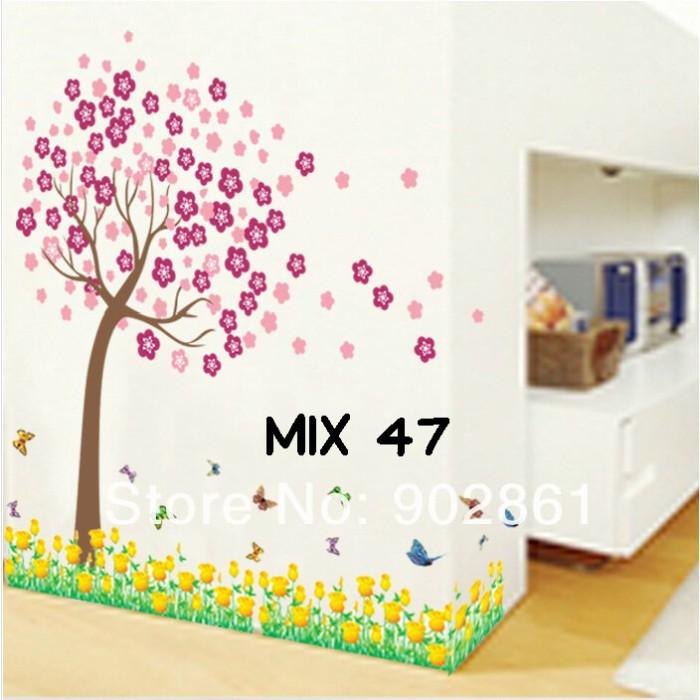 jual grosir wall sticker murah mix motif tulip kuning & pohon pink