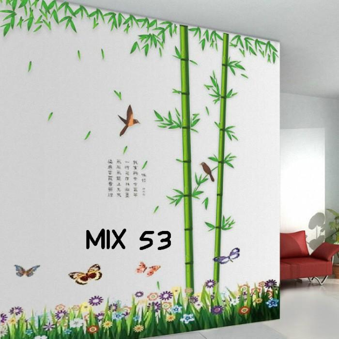 jual grosir wall sticker murah mix motif rumput bambu - pusat wall