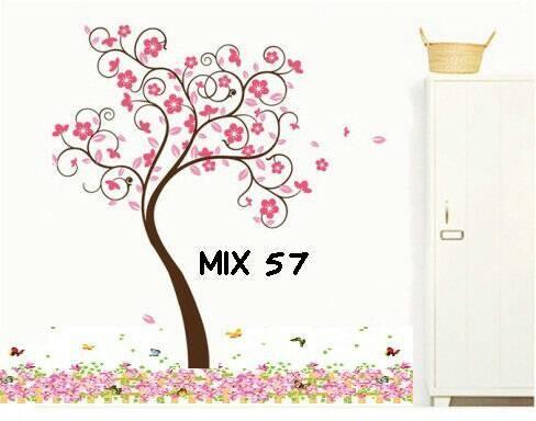 jual grosir wall sticker murah mix motif pohon & pagar bunga pink