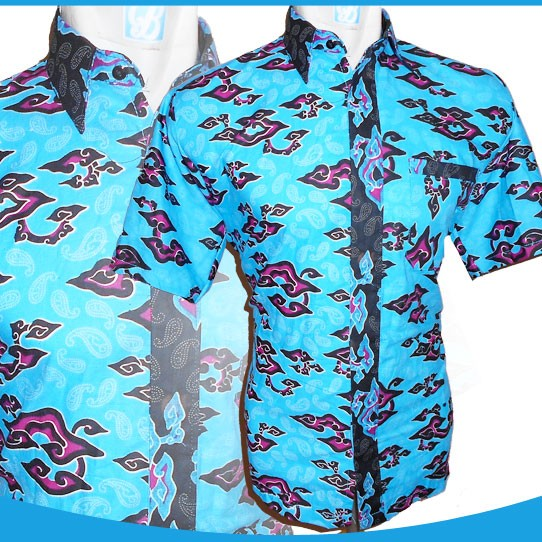 Jual 1219 15 Batik Hem Biru Batik Mega Mendung Kombinasi Keren Top