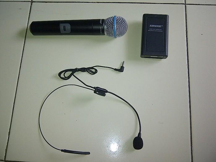 harga Pgx 242 shure wireless 2 mic (genggam/handheld + headset/clip on) dos Tokopedia.com