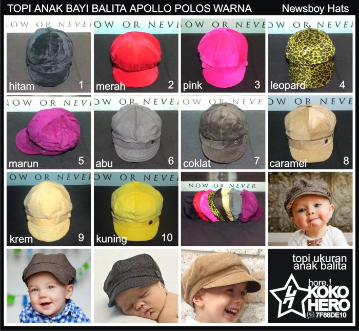 harga Topi pet anak bayi balita apolo mario bros polos warna newsboy kid 1th Tokopedia.com