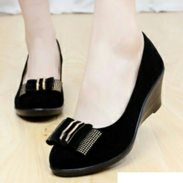 Jual BLACK WORK OFFICE WEDGES SHOES Sepatu Kerja Kantor Hitam Pita ... 334ad27f7b