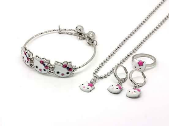 Set Perhiasan Xuping Anak Hello Kitty/Kalung Cincin Gelang Anting HK