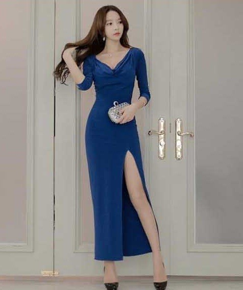 Jual Baju Long Dress Pesta Wanita Model Korea Import Premium Bd1460