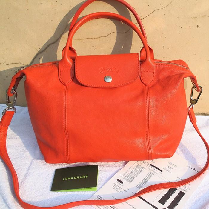 Jual Tas Longchamp Authentic Original Leather Kulit Bag Small Orange ... ef37bd70ac