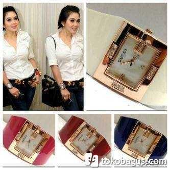 Jam Tangan Wanita Gucci Syahrini Watch Kulit Kotak Diamond Leather