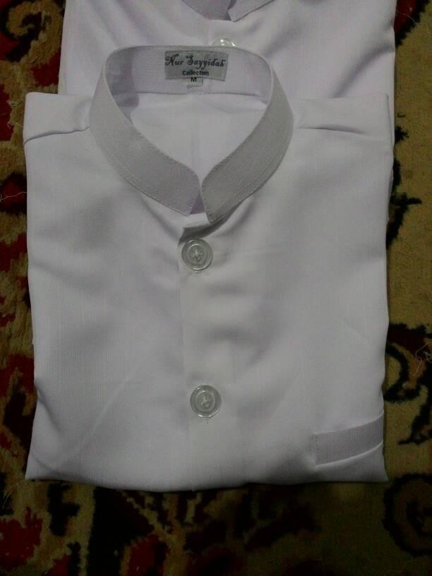 "baju koko putih polos bahan niagara ""Nur Syaidah"""