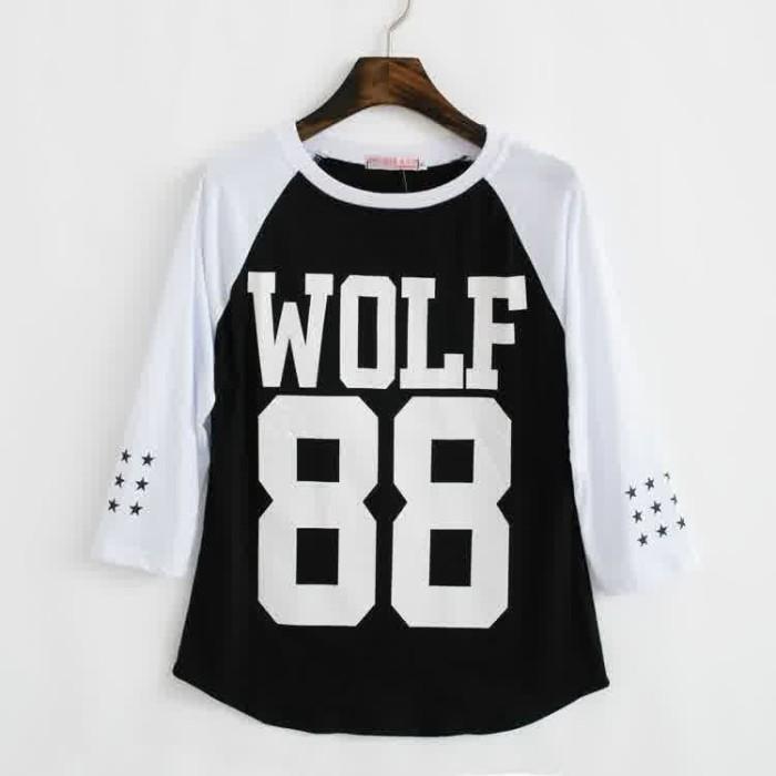 Foto Produk Kaos raglan EXO WOLF 88 hitam putih dari Tio olshop