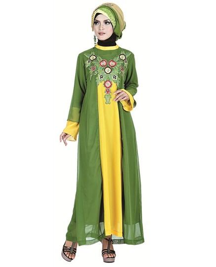Jual Baju Gamis Warna Hijau Kombinasi Kuning Toko Jaket Wanita