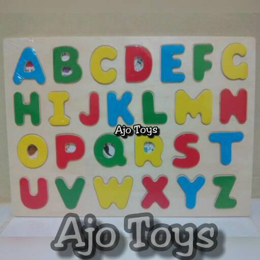 Puzzle Kayu Edukasi Seri Huruf A - Z , wooden Puzzle Letter