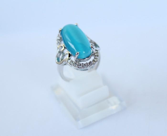 harga Cincin batu cat eye - cincin batu wanita - batu mata kucing biru Tokopedia.com