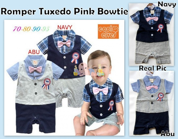 harga Romper tuxedo pink bowtie Tokopedia.com