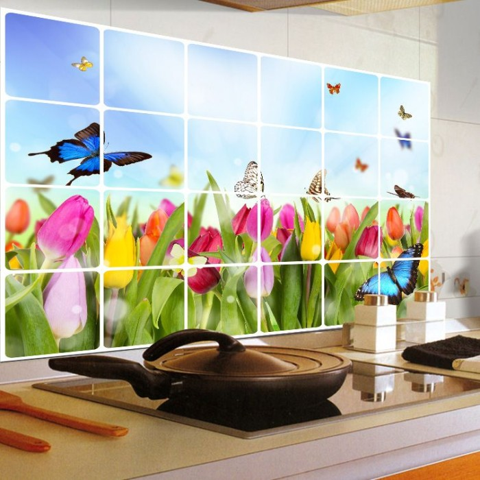 ... Stiker Dinding Wall Sticker Anti Minyak Dapur Tulip AY4005
