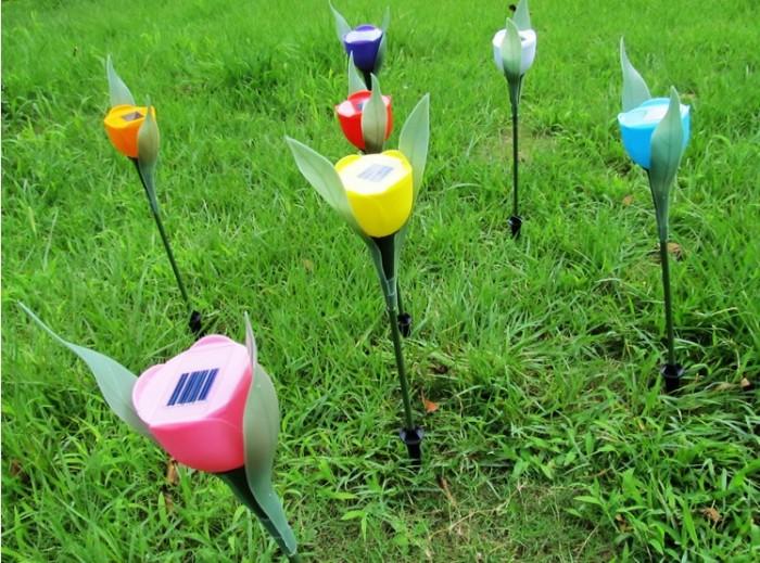 Lampu Taman Tancap Model Bunga Tulip Mawar Rose Solar cell garden LED