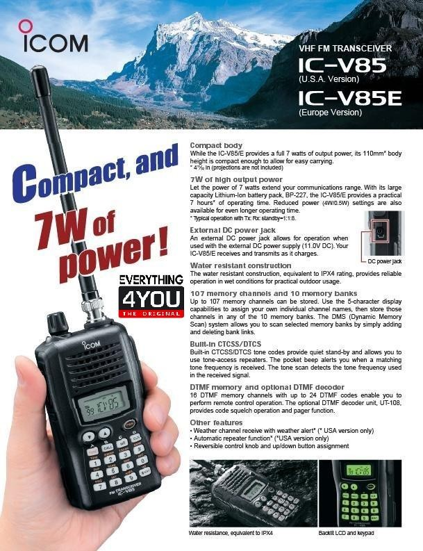 Jual iCom IC-V85 the 7W of VHF FM Transceiver RAPID Charge Package - DKI  Jakarta - EVERYTHING4U | Tokopedia
