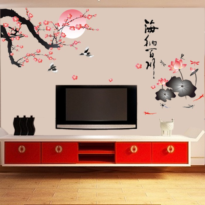 jual wall sticker sakura moon ay897 (wall stiker dinding) - kota