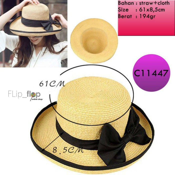 ... harga Import fashion ribbon hats   topi jalan - floppy lebar -pantai    beach Tokopedia 158ba08f40
