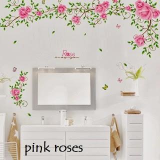 jual wall sticker bunga rose mawar (wall stiker dinding) - kota