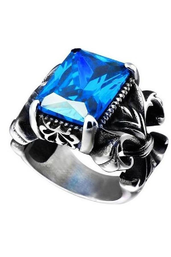 harga Cincin pria the crown blue stone titanium steel ring batu biru Tokopedia.com
