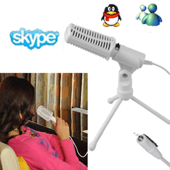 harga 3.5mm singing karaoke microphone mic pc laptop msn skype voip + tripod Tokopedia.com