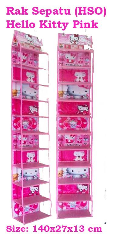 harga Hanging shoes organizer hello kitty pink (rak sepatu gantung hello kitty pink) Tokopedia.com