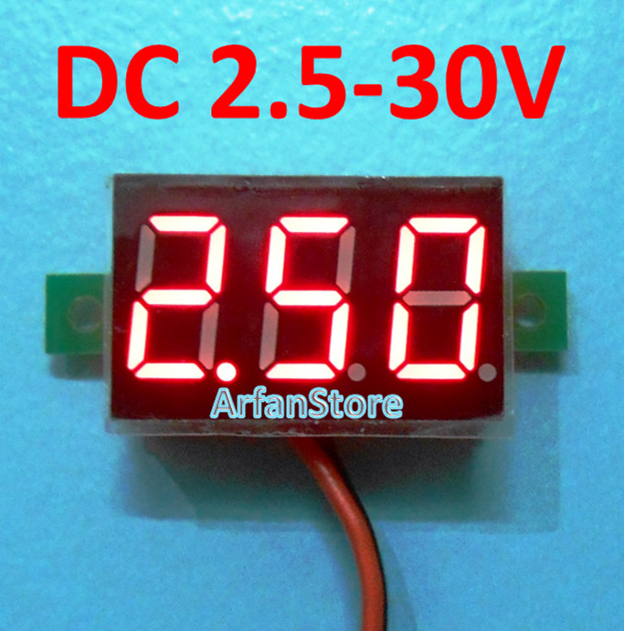 harga Mini volt meter dc 2.5v - 30v digital voltmeter display 2 kabel Tokopedia.com